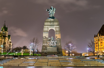 The National War Memorial on Confederation Square in Ottawa, Canada
