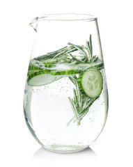 Tasty refreshing lemonade with cucumber and rosemary in glass jug on white background