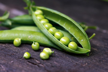 Young organic green pea, close up.