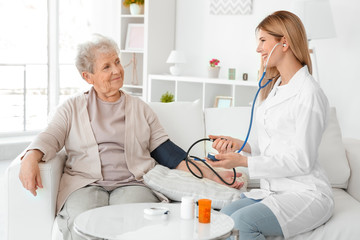 Young nurse measuring blood pressure of elderly woman at home