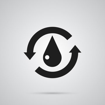 Isolated Water Icon Symbol On Clean Background. Vector Treatment  Element In Trendy Style.