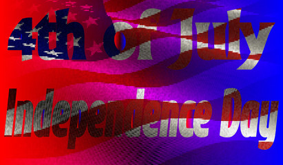 Vector illustration. Independence Day of America Day on 4th July against the background of the American flag in a mosaic style.