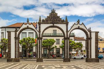 Ponta Delgada, Azores - May 05,2017: Portas da Cidade - City Gate in Ponta Delgada, Azores