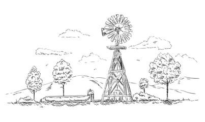 vector - Windmill landscape