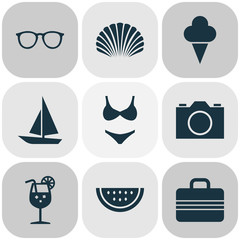 Sun Icons Set. Collection Of Spectacles, Ship, Baggage And Other Elements. Also Includes Symbols Such As Juice, Sunglasses, Sea.