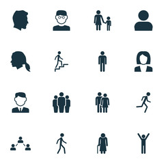 Person Icons Set. Collection Of Ladder, Running, User And Other Elements. Also Includes Symbols Such As Social, Avatar, Work.