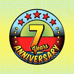 7th anniversary logo. Vector and illustrations. Comics anniversary logo.