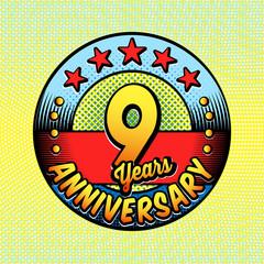 9th anniversary logo. Vector and illustrations. Comics anniversary logo.