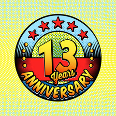 13th anniversary logo. Vector and illustrations. Comics anniversary logo.