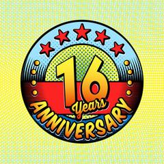16th anniversary logo. Vector and illustrations. Comics anniversary logo.