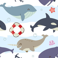 vector blue whale, sperm whale, narwhal and killer whale set