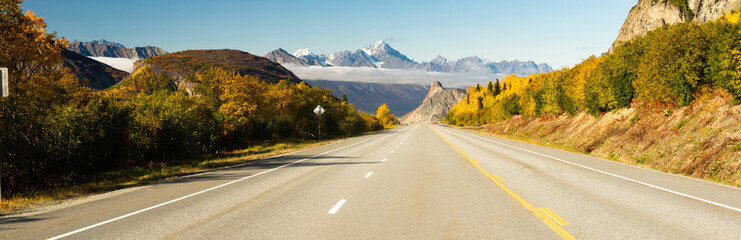 Empty Highway One Fall Season Open Road Alaska
