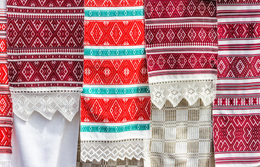 Slavic traditional pattern ornament embroidery in Belarus.