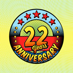 22nd anniversary logo. Vector and illustrations. Comics anniversary logo.