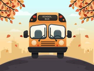 School Bus on a Street. Flat Design Style.
