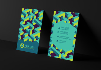 Colorful Business Card Layouts with Isometric Elements