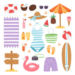 Summer fashion beach sea time swimsuit clothes and accessories vector illustration vacation bathing suit looks image design