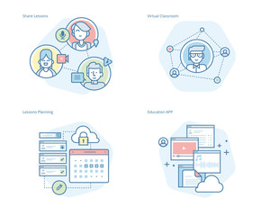 Set of concept line icons for online education, apps, virtual classroom, education network, lecture program for teachers. UI/UX kit for web design, applications, mobile interface, print design.