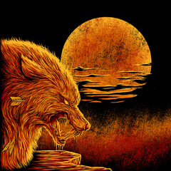 The wolf in the moonlight
