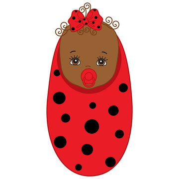 Vector African American Cute Baby Girl in Ladybug Costume.