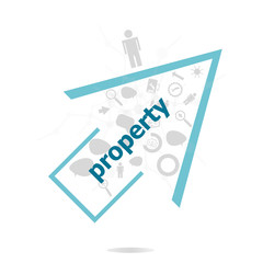 Text Property. Protection concept . Data protection and secure elements inforgaphic set