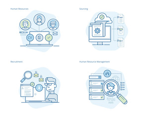 Set of concept line icons for human resources, recruitment, HR management, career. UI/UX kit for web design, applications, mobile interface, infographics and print design.