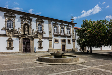 View of former convent of Santa Clara (16th century) now city hall in Guimaraes, North Region, Portugal. Guimaraes city listed as World Heritage by UNESCO.