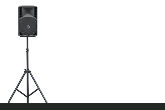 Sound speaker on a tripod