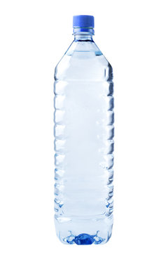 bottle transparent plastic, clipping path, disposable container on white background isolated