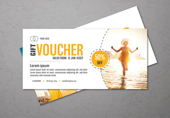 Bright Gift Voucher Layout with Summer Photo Accents