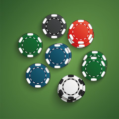 Set of casino chips with shadow. Poker chips realistic layout. Colorful. Black, white, red, blue, green, casino chips stacks top view isolated on poker table.