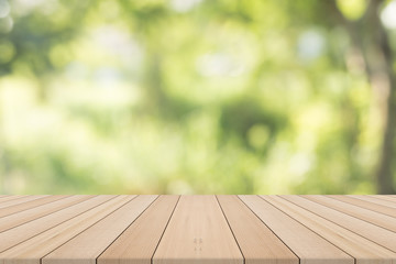 Empty wooden table with natural background,Free space for product editing