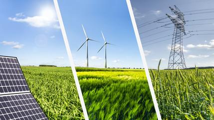 Renewable energies concept collage