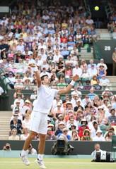 Serbia's Novak Djokovic in action during his quarter final match