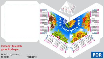 Template portuguese (brazilian) calendar 2018 by seasons pyramid shaped, vector background