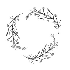 branches with leaves and flowers decoration