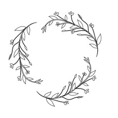 line branches with leaves and flowers decoration