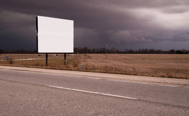 Roadside Billboard Advertising Medium Dark Stormy Skies