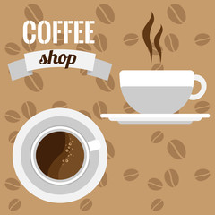 Illustration of a coffee shop signboard with an inscription and two cups
