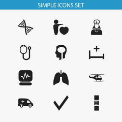 Set Of 12 Editable Hospital Icons. Includes Symbols Such As Human Love, Doctor Tool, Genome And More. Can Be Used For Web, Mobile, UI And Infographic Design.