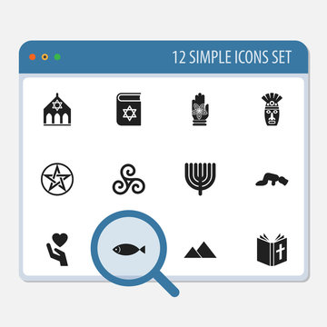 Set Of 12 Editable Religion Icons. Includes Symbols Such As Giza, Fish, Hamsa And More. Can Be Used For Web, Mobile, UI And Infographic Design.