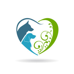 Couple Dogs love heart. Vector graphic design