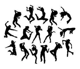 Hip Hop and Breakdance Set, art vector silhouettes design