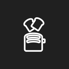 Vector Illustration Of Food Symbol On Toaster Outline. Premium Quality Isolated Toast Element In Trendy Flat Style.
