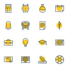 Vector Illustration Of 16 Studies Icons. Editable Pack Of Car, Diploma, Clock And Other Elements.