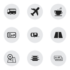 Set Of 9 Editable Trip Icons. Includes Symbols Such As Caravan, Invitation, Cup And More. Can Be Used For Web, Mobile, UI And Infographic Design.