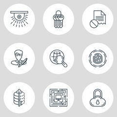 Vector Illustration Of 9 Privacy Icons. Editable Pack Of Key Collection, System Security, Encoder And Other Elements.
