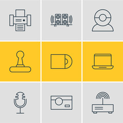 Vector Illustration Of 9 Technology Icons. Editable Pack Of Game Controller, Video Chat, Photocopier And Other Elements.