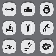 Set Of 9 Editable Training Icons. Includes Symbols Such As Crossbar, Platform For Winner, Jump Training And More. Can Be Used For Web, Mobile, UI And Infographic Design.