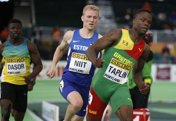 Taplin of Grenada wins a heat in the men's 400 meters during the IAAF World Indoor Athletics Championships in Portland